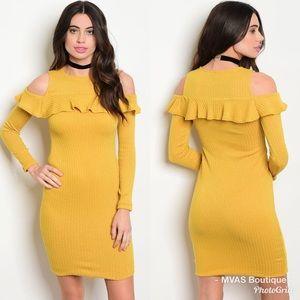 Dresses & Skirts - Mustard Ruffle Dress | MAKE A OFFER
